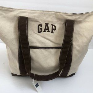 Gap Shoulderbag Cotton Canvas Satchel Cream brown